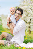 Portrait of a handsome man with his lovely daughter Royalty Free Stock Photos