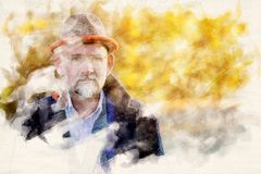 Portrait of man in his 50s outdoors. Portrait of handsome man in his 50s in watercolors royalty free illustration