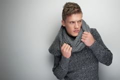 Handsome Man Holding Winter Scarf Stock Images