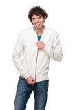 Handsome Man Holding Zipper on Jacket Royalty Free Stock Photography