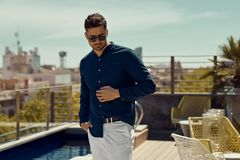 Portrait of handsome man wear summer outfit