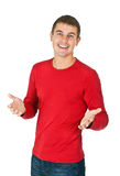 Portrait of a handsome man in a red dress Stock Photo