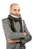 Portrait of handsome man in scarf and coat Royalty Free Stock Image