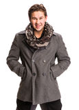 Portrait of handsome man in scarf and coat Stock Images