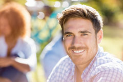 Portrait of handsome man smiling at camera Stock Image