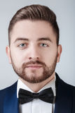 Portrait of handsome man in tuxedo and bow tie looking at camera. Fashionable, festive clothing. emcee on grey Stock Image