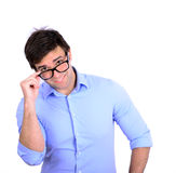 Portrait of handsome man wearing fashion eyeglasses isolated on Royalty Free Stock Photography
