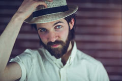Portrait of handsome man wearing hat Royalty Free Stock Image