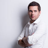 Portrait of handsome man in white shirt. Royalty Free Stock Photo