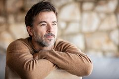 Portrait Of A Handsome Mature man smiling. stock photo