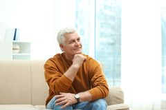 Portrait of handsome mature man on sofa royalty free stock photography