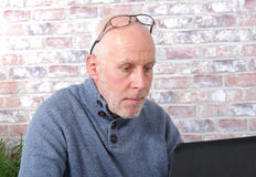 Portrait of a handsome mature man using laptop. At office Royalty Free Stock Image