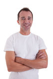 Portrait of a handsome middle-age man smiling. On white background. Studio shot stock images