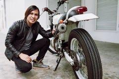 Portrait of Handsome Asian Biker Royalty Free Stock Photos