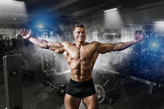 Portrait of a handsome muscular bodybuilder posing in gym Stock Photos