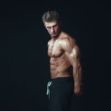 Portrait of a handsome muscular bodybuilder posing over black ba Royalty Free Stock Photography