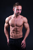 Portrait of handsome muscular man shirtless posing over grey Royalty Free Stock Images