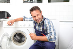 Portrait of handsome plumber Royalty Free Stock Photography