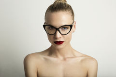 Portrait Handsome Pretty Young Lady Red Lips Wearing Black Classic Glasses White Color Empty Background.Beauty stock photo
