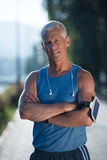 Portrait of handsome senior jogging man Royalty Free Stock Photos