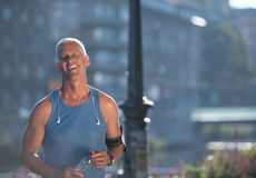 Portrait of handsome senior jogging man Royalty Free Stock Images