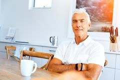 Portrait of a handsome senior man indoor. Portrait of a handsome senior man smiling indoor stock photography