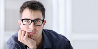 Portrait of handsome serious and reliable man with spectacles Royalty Free Stock Photography
