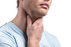 Portrait of handsome sick male with pain in throat. Stock Photos