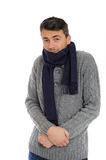 Portrait of handsome sick man in scarf Royalty Free Stock Image