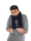 Portrait of handsome sick man in scarf Royalty Free Stock Photos