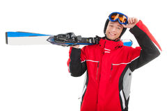 Portrait of handsome smiling man with ski. Stock Photos