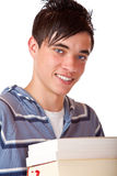 Portrait of handsome student with books Stock Images