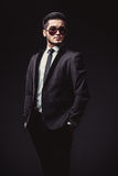 Portrait of handsome stylish man in elegant black suit Royalty Free Stock Images