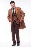 Portrait of handsome stylish man in elegant brown suit Stock Photography
