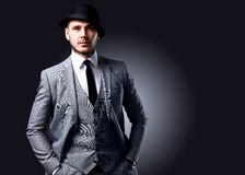 Portrait of handsome stylish man in elegant suit Royalty Free Stock Images