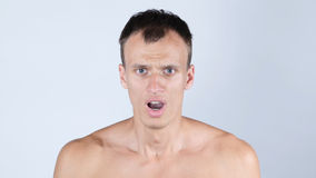 Portrait of handsome, surprised, shocked, stunned  young man Royalty Free Stock Images