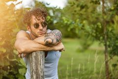 Confident young man on nature Royalty Free Stock Image