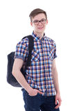 Portrait of handsome teenage boy with backpack isolated on white Stock Photography