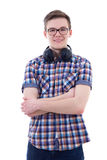 Portrait of handsome teenage boy with headphones isolated on whi Royalty Free Stock Photo