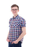 Portrait of handsome teenage boy isolated on white Stock Images