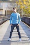Portrait of Handsome teenage boy outdoors. Posing stock photos