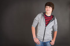 Portrait of handsome teenager in casual clothes Stock Photos