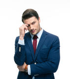 Portrait of a handsome thoughtful businessman royalty free stock image