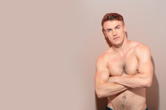 Portrait of handsome topless man Royalty Free Stock Images