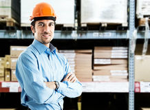 Portrait of a handsome warehouse worker Stock Photos