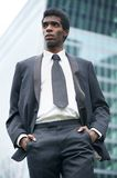 Portrait of a handsome young african american businessman outdoors Stock Image