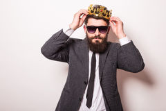 Portrait handsome young cheerful man in suit Royalty Free Stock Photos