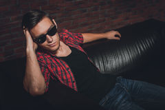 Portrait handsome young hipster man glasses casual Stock Photo