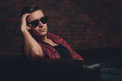 Portrait handsome young hipster man glasses casual Stock Photos