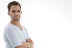 Portrait of handsome young man. On an isolated white backgound Stock Photo